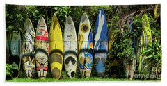 Surfboard Fence Maui Hawaii Hand Towel