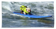 Surfing Dog Hand Towel by Thanh Thuy Nguyen