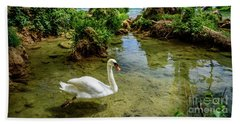 Swan In The Waterfalls Of Skradinski Buk At Krka National Park In Croatia Hand Towel