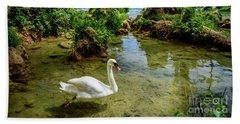 Swan In The Waterfalls Of Skradinski Buk At Krka National Park In Croatia Hand Towel