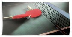Table Tennis Table And Paddles Hand Towel
