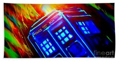 Bath Towel featuring the painting Tardis Watercolor Edition by Justin Moore