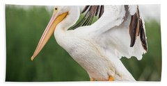 The Amazing American White Pelican  Bath Towel