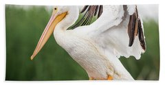 The Amazing American White Pelican  Hand Towel by Ricky L Jones