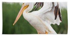 The Amazing American White Pelican  Bath Towel