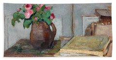 The Artist's Paint Box And Moss Roses Hand Towel