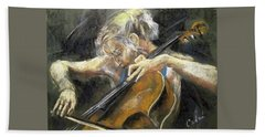 Hand Towel featuring the painting The Cellist by Debora Cardaci