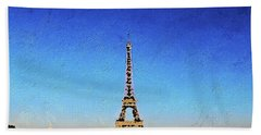 Bath Towel featuring the painting The Eiffel Tower by PixBreak Art