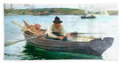 Bath Towel featuring the painting The Fisherman by Henry Scott Tuke