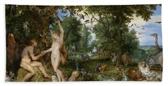 The Garden Of Eden With The Fall Of Man Bath Towel