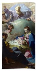 The Nativity With God The Father And The Holy Ghost Bath Towel
