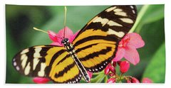 Hand Towel featuring the photograph The Postman Longwing  by Saija Lehtonen