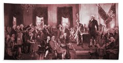 The Signing Of The Constitution Of The United States In 1787 Hand Towel