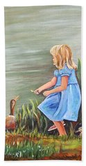Hand Towel featuring the painting Tori And Her Ducks by Patricia Piffath