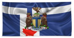 Toronto - Coat Of Arms Over City Of Toronto Flag  Hand Towel
