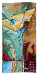 Tropical Martini Original Painting Fun Pop Art Style By Megan Duncanson Hand Towel