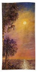 Hand Towel featuring the painting Tropical Moon by Lou Ann Bagnall