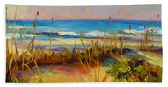 Bath Towel featuring the painting Turquoise Tide by Chris Brandley