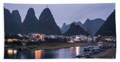 Twilight Over The Lijang River In Yangshuo Hand Towel