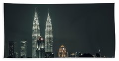 Hand Towel featuring the photograph Twin Towers by Charuhas Images