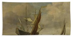 Two Small Vessels And A Dutch Man-of-war In A Breeze Hand Towel