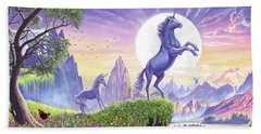 Unicorn Moon Hand Towel by Steve Crisp