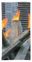 Vancouver Olympic Cauldron Hand Towel by Ross G Strachan