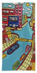 Bath Towel featuring the painting Venice by Artists With Autism Inc