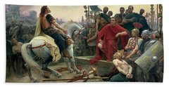 Vercingetorix Throws Down His Arms At The Feet Of Julius Caesar Hand Towel