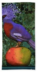 Bath Towel featuring the painting Victoria Crowned Pigeon On A Mango by Leah Saulnier The Painting Maniac