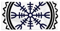 Hand Towel featuring the digital art Viking Helm Of Awe by Vagabond Folk Art - Virginia Vivier