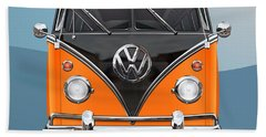 Volkswagen Type 2 - Black And Orange Volkswagen T 1 Samba Bus Over Blue Hand Towel