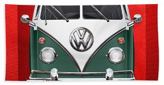 Volkswagen Type 2 - Green And White Volkswagen T 1 Samba Bus Over Red Canvas  Hand Towel