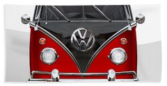 Volkswagen Type 2 - Red And Black Volkswagen T 1 Samba Bus On White  Hand Towel