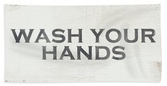 Wash Your Hands Modern Farm Sign- Art By Linda Woods Hand Towel