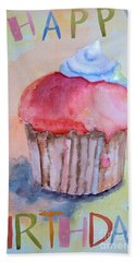 Watercolor Illustration Of Cake  Bath Towel
