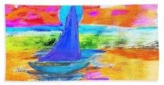 Watercolor Sailing Hand Towel by Scott D Van Osdol