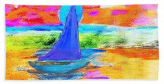 Watercolor Sailing Bath Towel