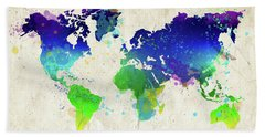 Watercolor World Map Hand Towel