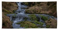 Hand Towel featuring the photograph Waterfall At Glendevon In Scotland by Jeremy Lavender Photography
