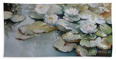 Hand Towel featuring the painting Waterlilies by Elena Oleniuc