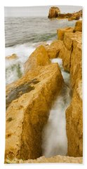 Waves Crashing Over Portland Bill Bath Towel