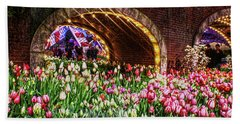 Welcoming Tulips Bath Towel by Sandy Moulder