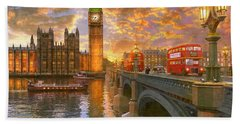 Westminster Sunset Hand Towel by Dominic Davison