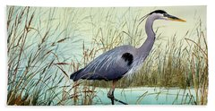 Bath Towel featuring the painting Wetland Beauty by James Williamson