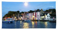 Hand Towel featuring the photograph Weymouth Harbour Full Moon by Anne Kotan