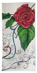 Whimsical Red Rose Hand Towel
