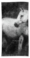 White Horse Portrait Hand Towel