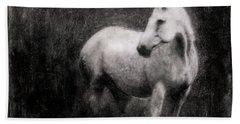 White Horse Bath Towel