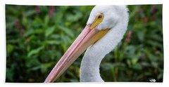 White Pelican Bath Towel by Robert Frederick